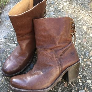 Frye brown leather ankle boots womens 8 lace back